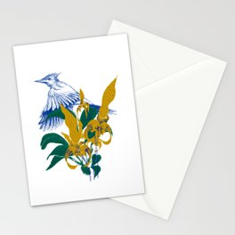 Midnight blooms - Asian paradise fly catcher bird Stationery Cards