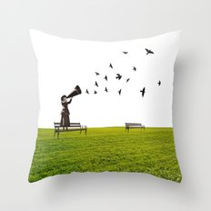 singing birds Throw Pillow
