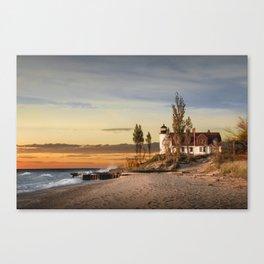 Point Betsie Lighthouse at Sunset on Lake Michigan near Frankfort Michigan No.66032 Fine Art Lightho Canvas Print