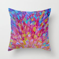 SPLASH, Revisited - Bold Beautiful Feminine Romance Ocean Beach Waves Magenta Plum Turquoise Crimson Throw Pillow