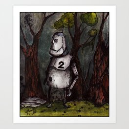 A robot lost in the woods Art Print