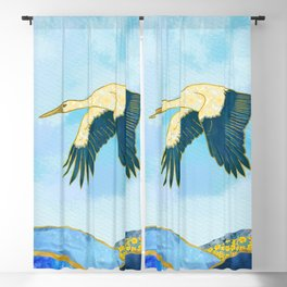 Majestic Stork Flying over Mountains - Spring Theme Blackout Curtain