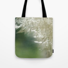 Wispy over green Tote Bag