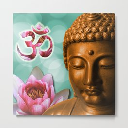 Buddha Lotus Flower & Crown Chakra Metal Print