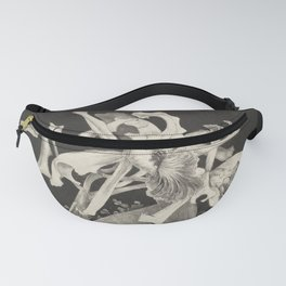 Orchid Flowers Black and White Vintage Print Fanny Pack
