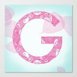 Floral Letter 'G' Canvas Print