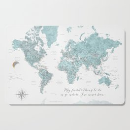 Where I've never been detailed world map in blue Cutting Board