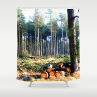 woods Shower Curtains featuring Woods by madbiffymorghulis