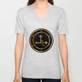 Sigil of Lilith- Female demon Lilith symbol in gold Unisex V-Neck