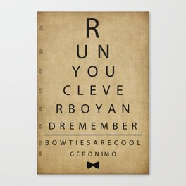 Run You Clever Boy - Doctor Who Inspired Vintage Eye Chart Canvas Print