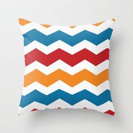 Blue Red Orange Chevron Throw Pillow