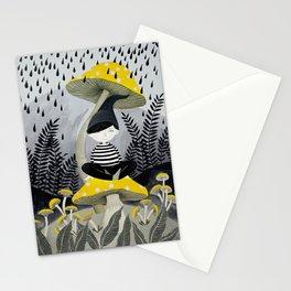 woodland mushrooms rain illustration Stationery Cards