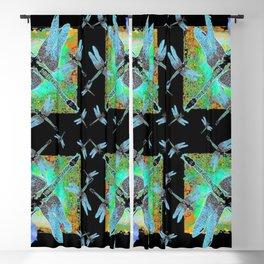 BLUE MORNING GLORIES & DRAGONFLIES BLACK ART Blackout Curtain