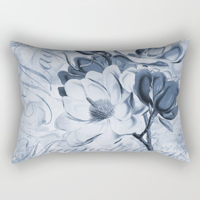 Blue Magnolia vintage flower illustration Rectangular Pillow