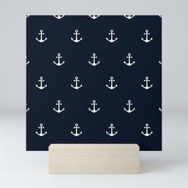 Dark Blue Anchor Pattern Mini Art Print