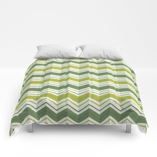 CHEVRON STRIPES - AVOCADO Comforters