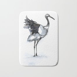 Crane, Watercolor Bath Mat