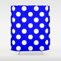 polka dots Shower Curtains featuring Polka Dots (White/Blue) by 10813 Apparel