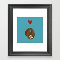 Sloth and Heart Balloon Framed Art Print