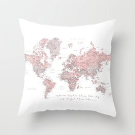 Inspirational detailed world map in dusty pink and gray Throw Pillow