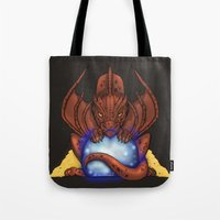 smaug Tote Bags featuring Smaug by YattaGiulia