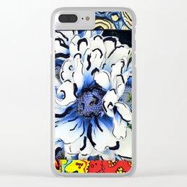 BlumenMuster blau brittmarks Clear iPhone Case