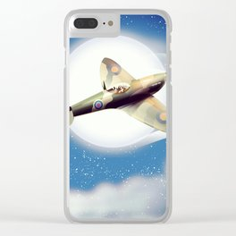 Spitfire at night Clear iPhone Case