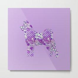 Akita Inu Dog Purple Lilac Lavender Turquoise Pastel Pretty Floral Pattern Metal Print