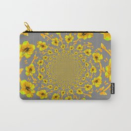CHARCOAL GREY YELLOW AMARYLLIS BUTTERFLY ART Carry-All Pouch