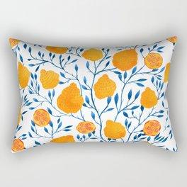 Lemons Botanical Pattern // Blue and Yellow Palette Rectangular Pillow
