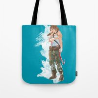 tomb raider Tote Bags featuring Tomb Raider by Robbie Drew Dixon