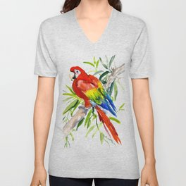 Scarlet Macaw, jungle tropical home decor bright colored parrot foliage Unisex V-Neck