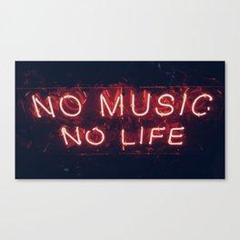 No Music No life Canvas Print