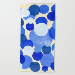 Colorful Blue White Watercolor Bubbles Beach Towel