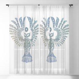 Blue NightOwl Lineart Sheer Curtain