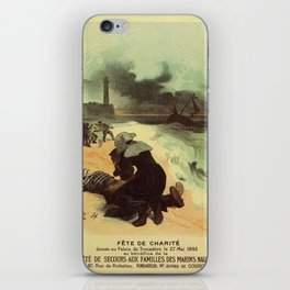 Vintage French drowned sailors charity advertising iPhone Skin