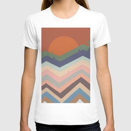 Abstraction mountain and sun landscape  T-shirt