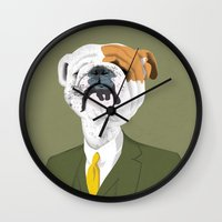 english bulldog Wall Clocks featuring English Bulldog by drawgood