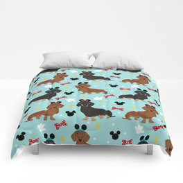 Dachshund theme park dog - black and tan and red doxies Comforters