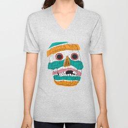 Stripy Skull  Unisex V-Neck