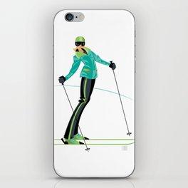 Ski Girl Lean Back iPhone Skin