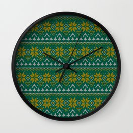 Knitted Christmas pattern green Wall Clock