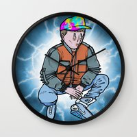 marty mcfly Wall Clocks featuring HEAVY McFLY by Michael Shantz