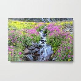 Pink & Yellow Wildflowers Waterfall Wide Metal Print