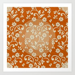 """Beige Flowers & Orange Texture"" Art Print"