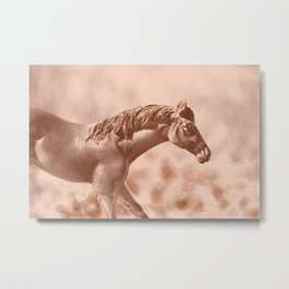 Horse Running Through an Old Picture Metal Print