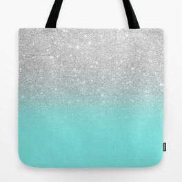 Modern girly faux silver glitter ombre teal ocean color bock Tote Bag