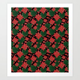 Poinsettia Party Art Print