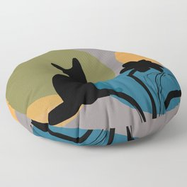 Abstract Daffodils Flower and black cat Floor Pillow