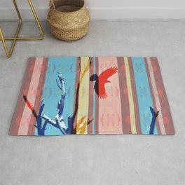 Southwestern Stripe Flying Crow Dead Tree Branches Colorful Rug